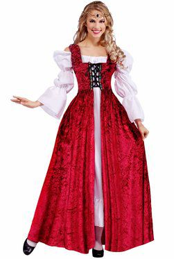 Adult Medieval Lady Lace Up Over Gown Plus Women's Costume