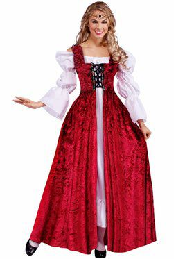 Adult Medieval Lady Lace Up Over Gown Women's Costume