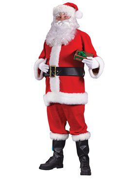 Adult Plus Size Flannel Santa Suit