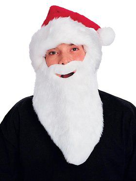 Adult Plush Santa Hat With Beard