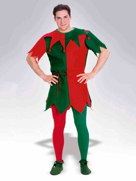 Adult Red and Green Elf Tights