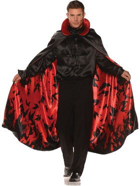 Adult Satin Bat Cape Red Men's Costume