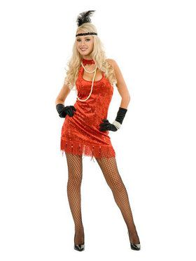 Adult Sexy Red 20s Flapper Costume