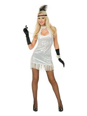 Adult Sexy White 20s Flapper Costume
