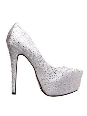 Adult Silver Platform High Heel with Rhinestones