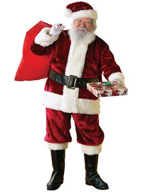 Adult Standard Size Crimson Regency Plush Santa Suit