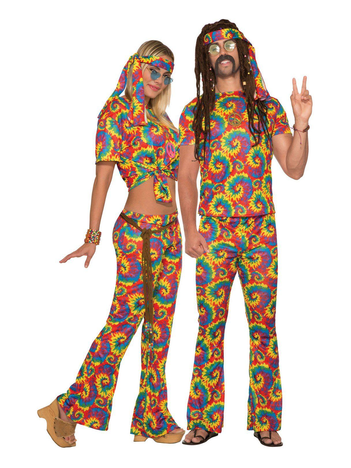 tie dye hippie adult unisex costume - mens costumes for 2018