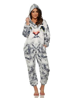 White Face Cat Jumpsuit Costume for Adults