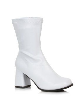 White Adult Mid Calf Patent Gogo Boots