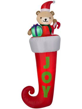 Airblown 7 Ft Hanging Teddy Bear in Stocking