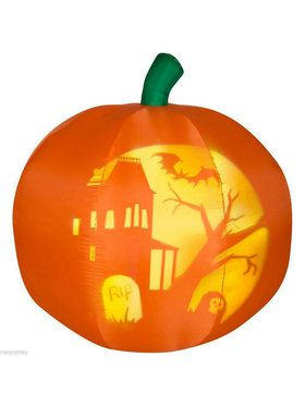 Airblown Pumpkin with Projected Silhouetted Decoration