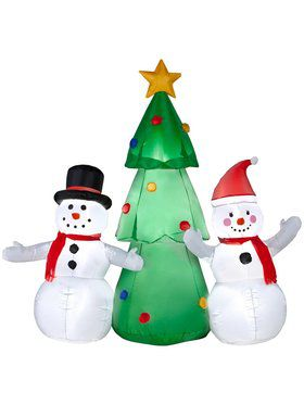 Airblown 6 Ft Snowman Family with Tree