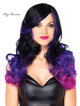 Allure Two Tone Black & Purple Long Wavy Women's Wig