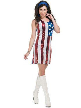 American Flag Sequin Dress Women's Costume