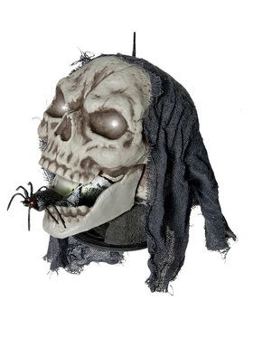 Animated Peekaboo Spider Tabletop Skull Decoration