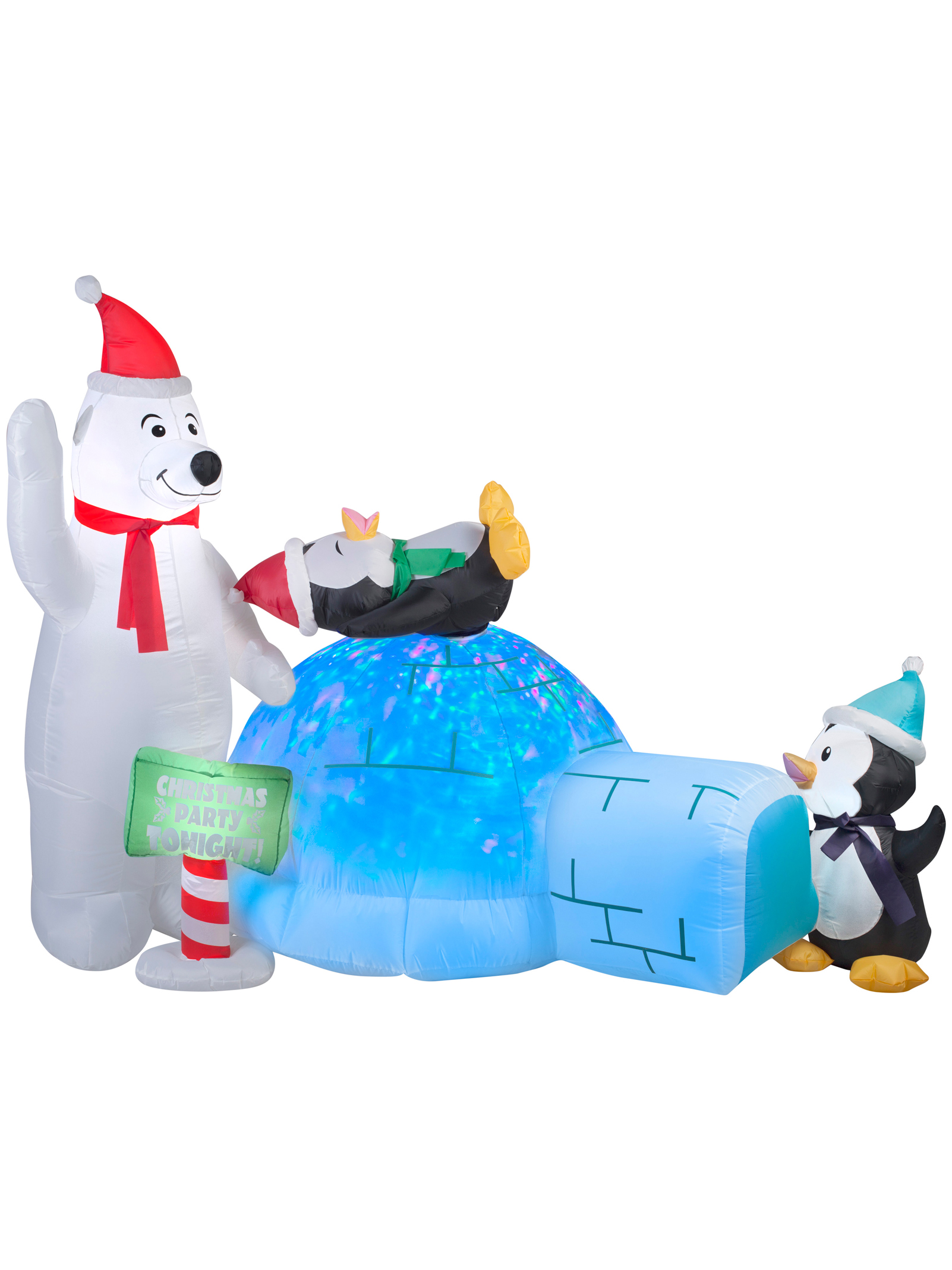 Animated Projection Airblown - Polar Bear And Penguins With Kaleidoscope Igloo 89898GE