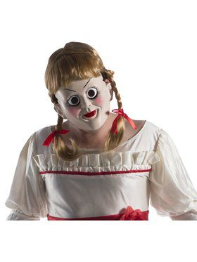 Annabelle Creation Mask With Attached Wig