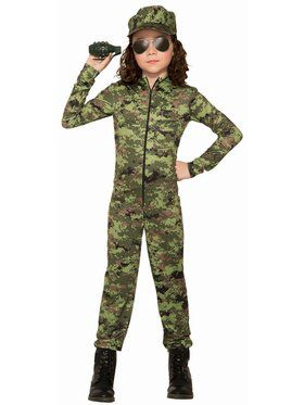 Army Girl With Hat Child Costume