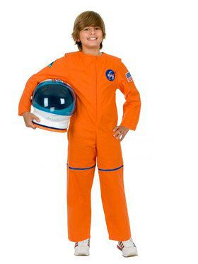 Boy's Orange Astronaut Suit Costume