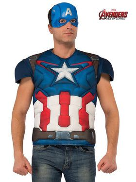 Avengers 2 Captain America Top Men's Costume