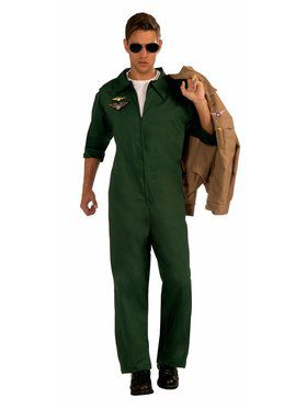 Adult Aviator Jumpsuit Green Costume