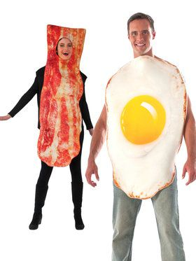 Adult Couples Bacon and Eggs Costume Set