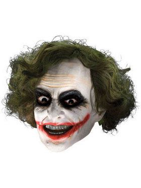 Batman Dark Knight - Joker 3/4 Mask with Hair Adult