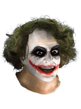 Batman Dark Knight Adult Joker Latex Mask with Hair