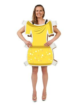 Beauty Yellow Dress Paper Doll Costume