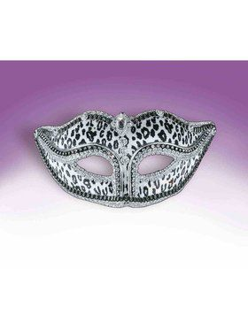 Bejeweled Snow Leopard Mask Accessory