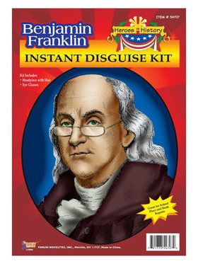 Ben Franklin Wig and Eyeglasses Kit