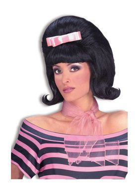 Black 50's Bouffant Wig Adult