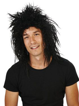 Black 80's Rocker Wig For Adults