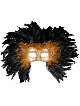 Black and Gold Deluxe Feather Mask