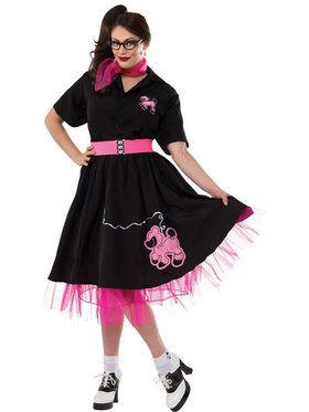 Black and Pink Plus Size 50's Poodle Adult Costume