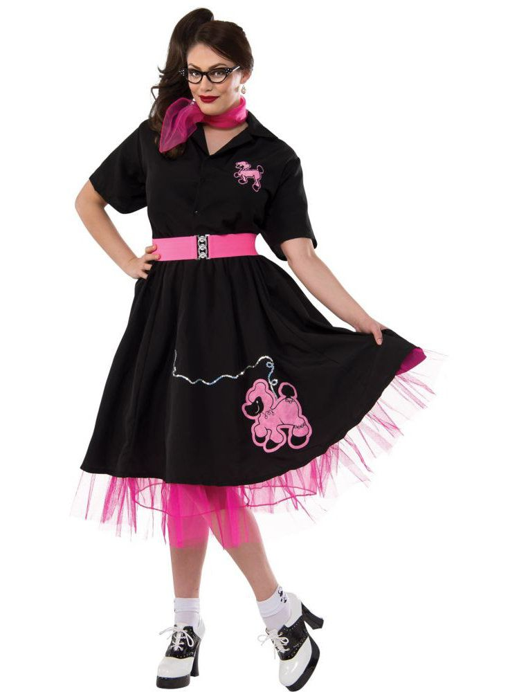 Black and Pink Plus Size 50\'s Poodle Adult Costume - Womens ...