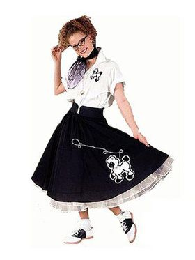Black and White Complete Poodle Outfit Adult Plus Size Costume