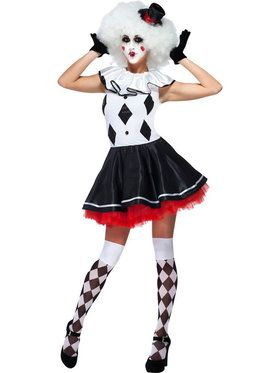 Black and White Party Jester Harlequin Clown Women's Costume