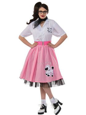 Black and White Plus Size 50's Poodle Adult Outfit