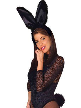 Black Bunny Rabbit Ears and Tail