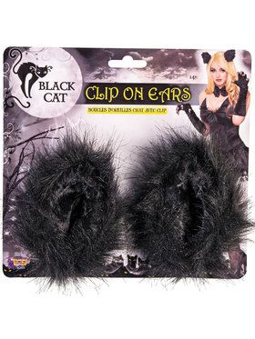 Black Cat Clip on Ears - Adult