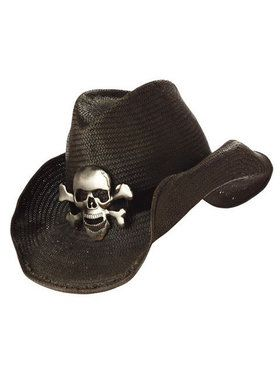 Black Cowboy Hat with Skull and Crossbones Adult