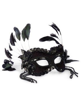 Black Fantasy Feather and Sequin Mask