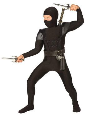 Black Fighter Ninja Costume For Children