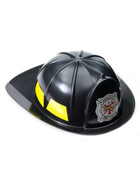 Black Fireman Adult Hat