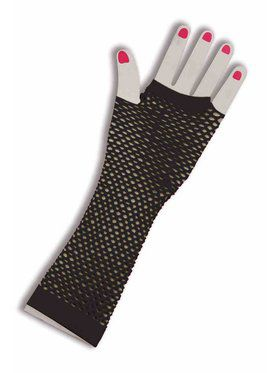 Womens Fingerless 80's Fishnet Gloves