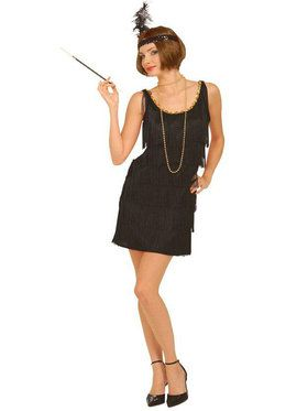 Plus Size Black Flapper Costume For Adults