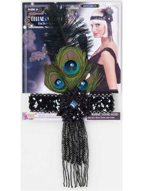 Flapper Black Headband with Peacock Feathers Accessory