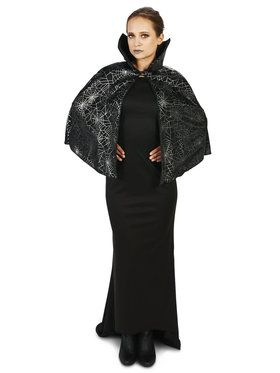 Black Foil Print Spiderweb Adult Capelet for Halloween