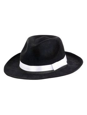 Black Gangster Hat with White Ribbon Accessory